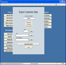 Exporting customer data